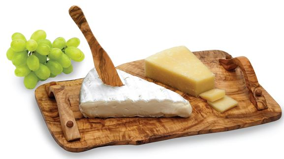 Carre olive wood tray with cheese and olive wood cheese knife